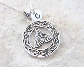 Personalized sterling silver Celtic triquetra necklace and initial, Celtic Triangle necklace, celtic Trinity necklace. Celtic knot triquetra