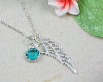 Sterling silver filigree angel wing birthstone necklace, Sterling silver angel wing necklace, memorial wing necklace, silver wing necklace