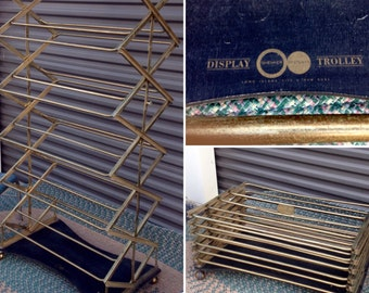 Vintage Industrial Brass Collapsable rolling Shoe Display Rack  Shenker Display Trolley New York     Reduced originally  800-