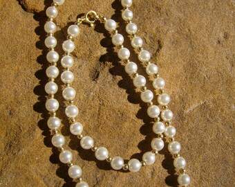 Glass Pearl Necklace and Bracelet Set