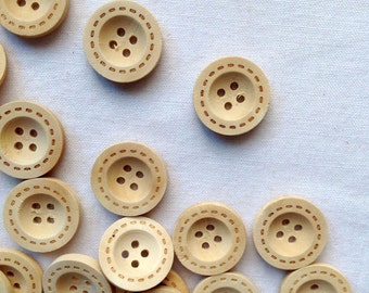20/40pcs 18mm Round Wood Button, BurlyWood, Four Holes, W5101