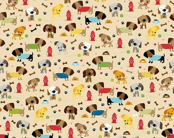 Rover Dog Park Tan by Riley Blake Designs - Pet Puppy Paws Bones - Quilting Cotton Fabric - by the yard fat quarter half