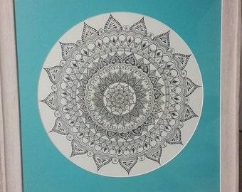 Framed original artwork- intricate mandala