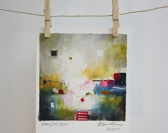City- original abstract oil painting on paper (14cm x 14cm - app. 5.5 x 5.5 inch)