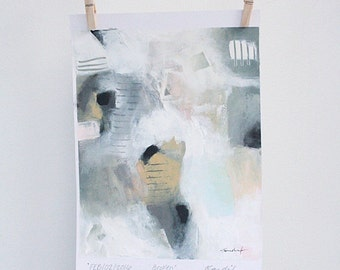 Broken - original abstract acrylic painting on paper ( 10 x 8 inch)