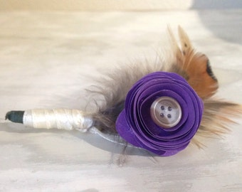 Button Hole/Boutonniere Rose and Feather for Grooms & Groomsmen - Handmade