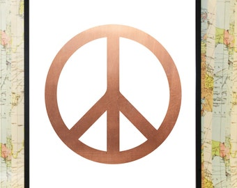 Peace sign copper poster typography print