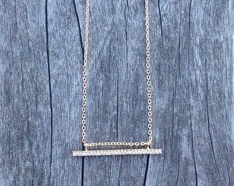Barn necklace with cubic zirconia crystals