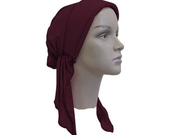 Pre-tied Bandana Solid Purple Plum Headscarf with Added Height Chemo Hat Modest Womens Tichel Turban Hair Loss Head Cover Pretied Headscarf