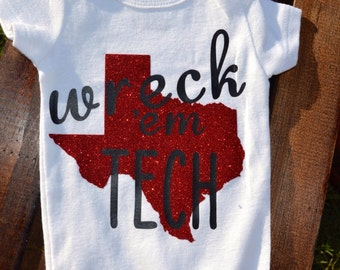 Just the Iron on | Texas Tech | Wreck 'Em | DIY Iron on Decal for onesies® or toddler shirts
