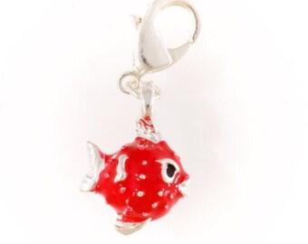 Silver puffer fish charm