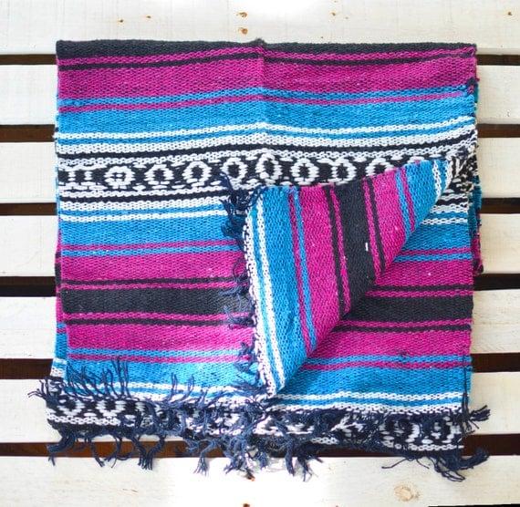 Mexican Blanket Purple Blue Stripped Warm Cozy Boho By