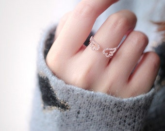 Rose Gold Diamond Angel Wing Cubic Adjustable Ring