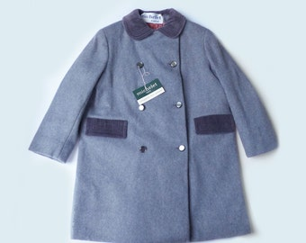 60's Grey Wool Double Breasted Coat French Stock 5-6 Years