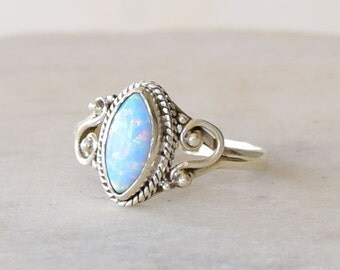 Opal ring, Blue Opal ring, Silver opal ring, Gemstone ring, ring, Blue stone ring, October birthstone ring, dainty ring,stacking ring