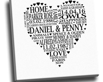 Personalised Words In A Heart Shape Framed Canvas Print