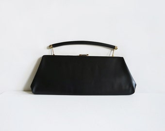 Vintage black evening clutch bag with metal handle