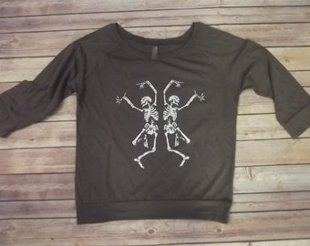 Halloween T-Shirt Dancing Skeletons 3\4  Sleeve Cool Perfect Fit 100% Cotton