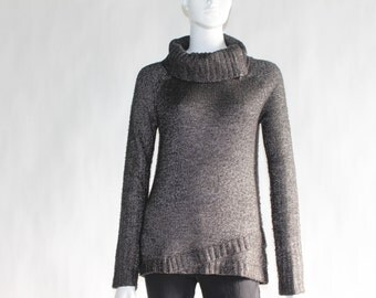 Vintage GUESS  Knitted Sweater with Turtleneck Collar (with zipper) - Size MEDIUM - Dark GREY