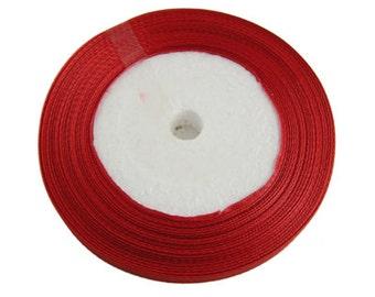 Red Satin Ribbon 10mm | 1 Roll - 25 Yards | Ribbon Reel | 284-Rib