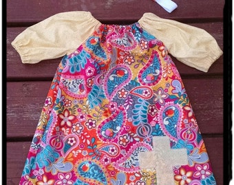 Picture dress, birthday dress, size 18 months, ready to ship, peasant dress, Peasant cross dress