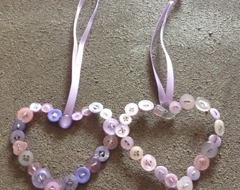 Pair of Lilac Button Hearts