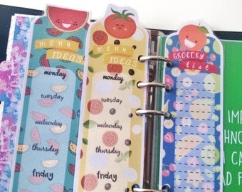 Planner insert / bookmark / Dashboard - Grocery List and Menu Ideas - double sided laminated hand Made! Food print