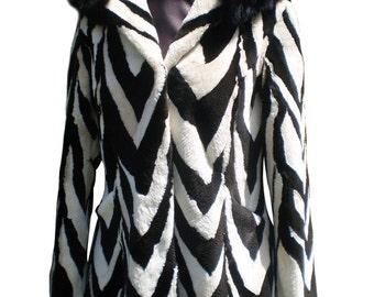 Luxury gift/ Beaver Fur Coat/ Fur jacket Sheared Black White Hood/ Wedding,or anniversary present