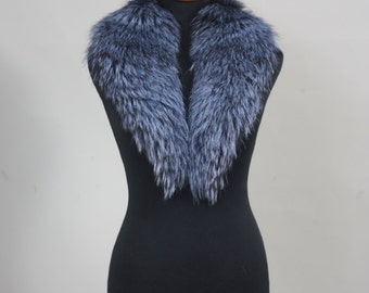 Luxury gift/ Blue color Fox Fur Collar  Women's/wedding or anniversary present