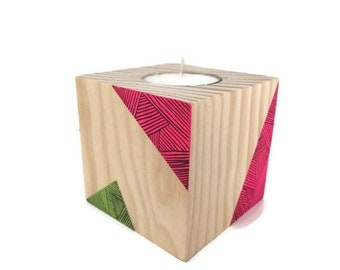 Neon geometrical painted tealight wooden candle holder