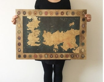 Game of Thrones American TV Series The old map Vintage paper Poster BAR home wall DECOR 28x20inch(71*51.5cm)