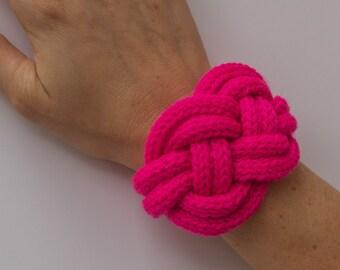 Bracelet fluo pink knit
