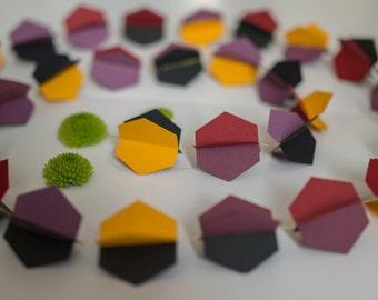 Garland hexagons yellow cardstock and violine