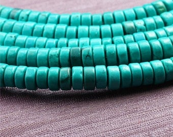 Nature Chinese Turquoise Beads Supplies, Full Strand 7mm Rondelle Turquoise Spacer Beads for DIY Jewelry Making