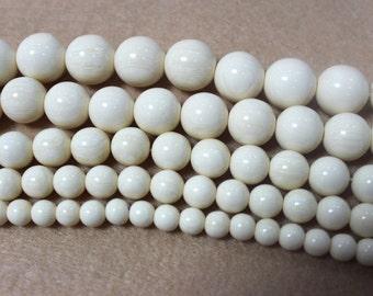 Imitation Ivory Beads Supplies, 6 8 10 12 14mm Round Ivory Gemstone Beads for DIY Jewelry Making