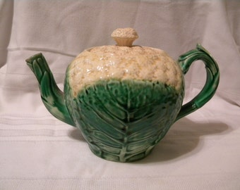 Cauliflower teapot, majolica, very old
