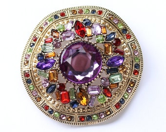 Multi Color Brooch Vintage style Colorful Gold Brooch Unique Jewelry Component DIY Craft Multi Colored Victorian Old Hollywood Jewelry