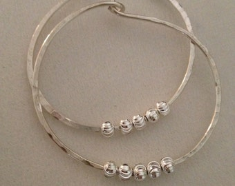 Sterling Silver Hoops, Hammered Hoops, Hoops with beads