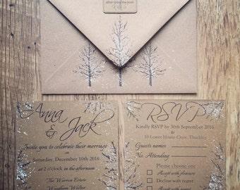 SAMPLE - Rustic Winter Wedding Invitation Suite, Rustic Wedding, Winter Wedding, Christmas Wedding Invitations, Rustic Winter Wedding
