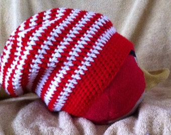 Crocheted Striped Slouch Beanie-Adult