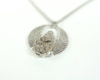 Steampunk Necklace Egyptian Scarab With Vintage Clockwork