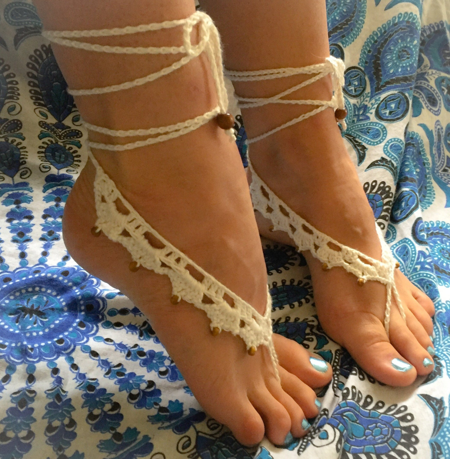 crochet beaded barefoot sandals boho wedding