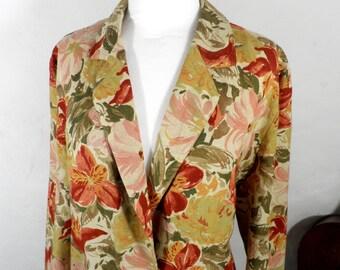 Vintage Floral Print Jacket  Size M