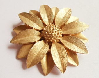 "Vintage Sarah Coventry Flower Pin Brooch, ""Satin Petals"" Brooch, Gold Tone Metal Pin Brooch, Floral Jewelry, Signed Pin, Estate Jewelry,1964"