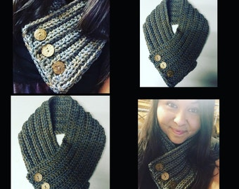 Button Cowl- Crochet Cowl- Scarf