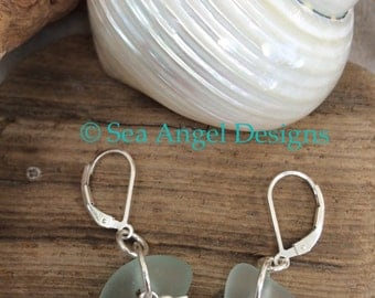 Scottish Sea Glass and sterling silver hummingbird earring