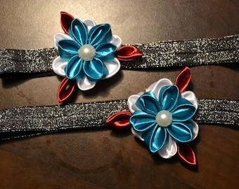 Baby and kid headband bleu, white, grey flower floral art kanzashi