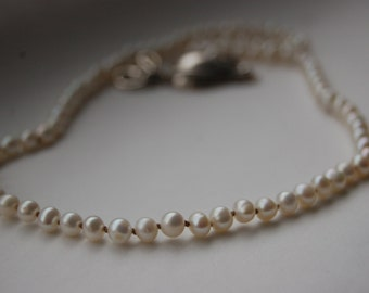 Heirloom Quality Pearl Necklace Hand Knotted on Silk