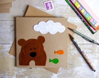 Bear Card, Kids Birthday, Fun Blank Greeting Card, Child Birthday, Handmade Felt Card, Personalised Card, Kids Animal Card, Brown Bear Card