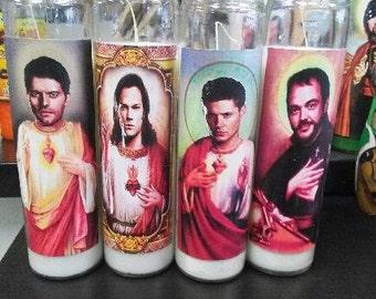 Supernatural Prayer candles Dean, Sam, Castiel, & Crowley
